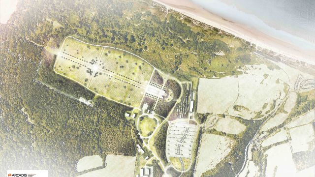 Amerikaanse begraafplaats en monument van Normandië uitgevoerd